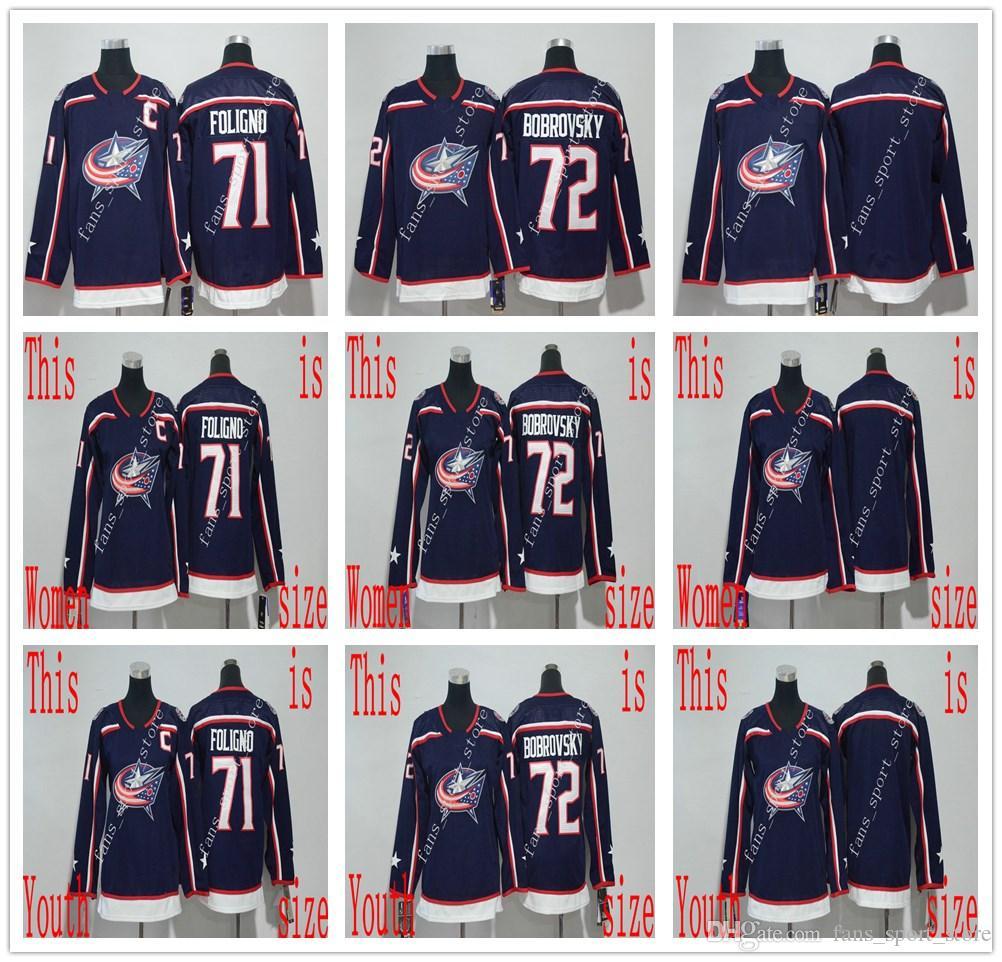 Best 2018 Ad New Style Columbus Blue Jackets  71 Nick Foligno Jersey Navy  Blue Home Mens Women Youth  72 Sergei Bobrovsky Stitched Hockey Jerseys  Under ... e380f7293e18