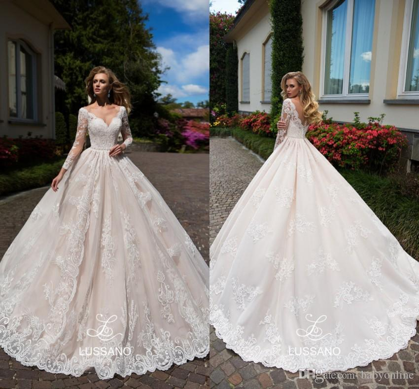 5d31e25b7e92 Discount Blush Pink A Line Wedding Dresses Newest 2019 Long Sleeves Bridal  Gowns V Cut Backless Appliques Floor Length Robe De Marriage A Line Wedding  ...