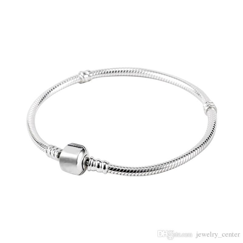 Fábrica Al Por Mayor 925 Pulseras Plateadas de Plata 3mm Serpiente Cadena Fit Pandora Charm Beads Pulsera Fabricación de Joyas para Hombres mujeres