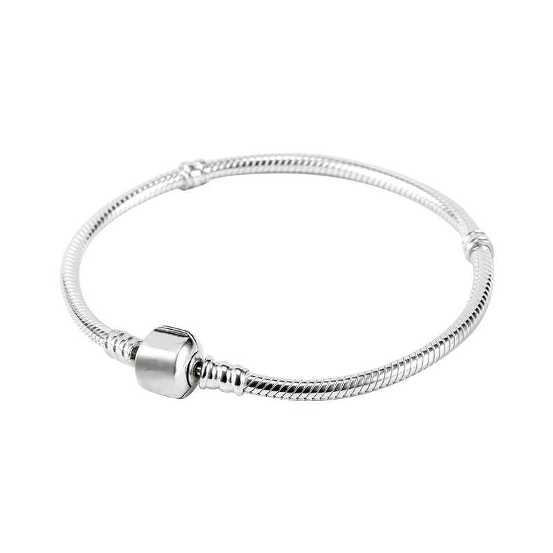 Fábrica Atacado 925 Sterling Silver Banhado Pulseiras 3mm Cadeia Cobra Fit Pandora Charm Beads Pulseira Fazer Jóias para Mulheres Dos Homens