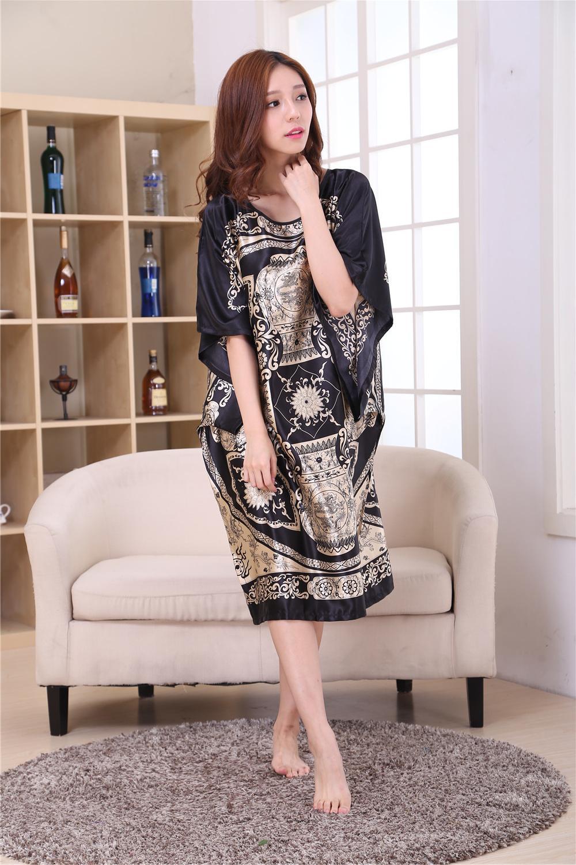 c632583a5fbc 86 Novedad Imprimir vestido de traje de raso negro mujer camisón camisón  Novedad mujeres Kaftan vestido de baño salón de verano Homewear más el ...