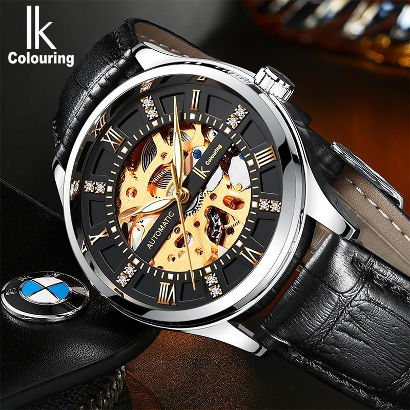 1f1c4c6312f Compre Ik Coloração Reloj Hombre Relógios Dos Homens 2018 Automático Auto  Vento Relógio Mecânico Homens Relógios De Aço Inoxidável Relogio Masculino  De ...