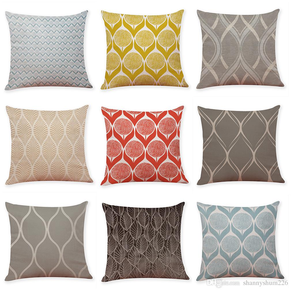 Leaf Texture Geometric Pattern Linen Cushion Covers Home Office Sofa