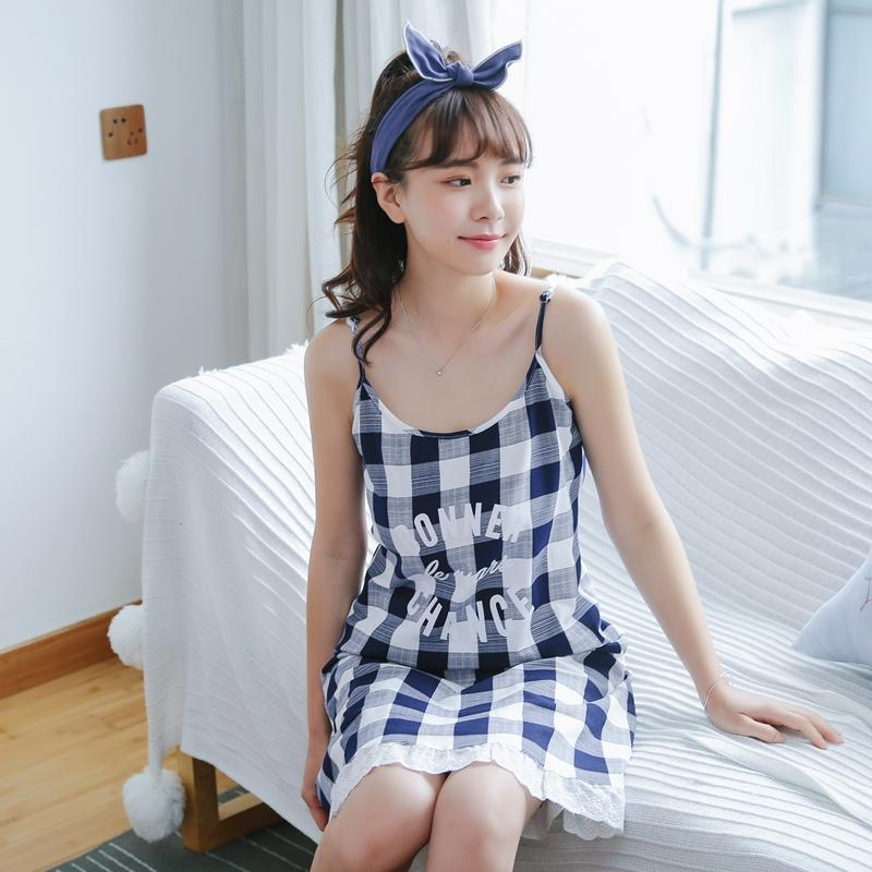 2019 Summer 2018 Cute Plaid Nightgown Nightdress Girl Women Lace Sleepshirt  Cotton Spaghetti Strap Loose Lounge D84806 From Tuhua 2c63e6995