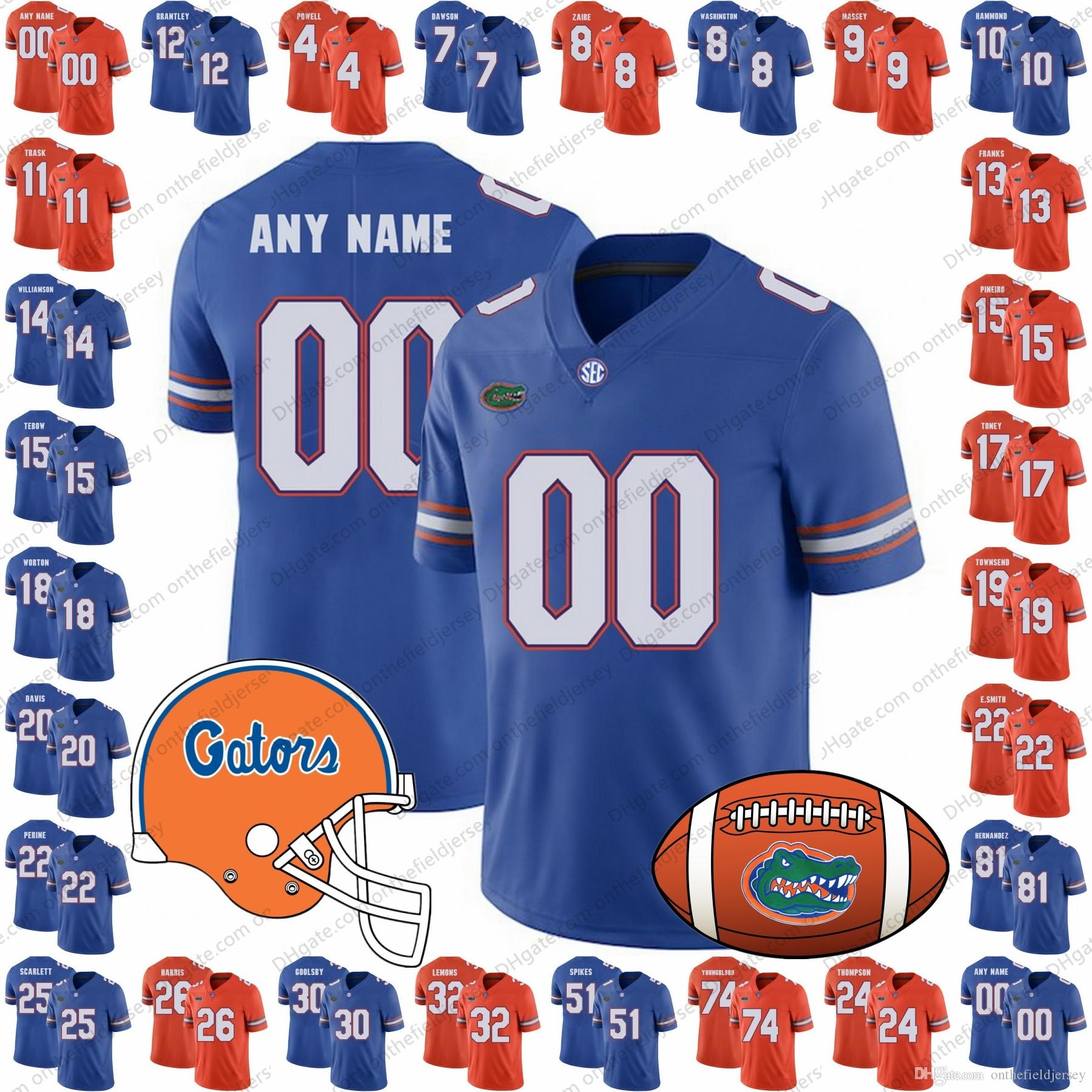 size 40 3f2a0 6c570 Custom Florida Gators 2018 NEW BRAND JUMP College Football Jerseys Any Name  Number Orange Blue NCAA #15 Tim Tebow 22 Emmitt Smith S-3XL