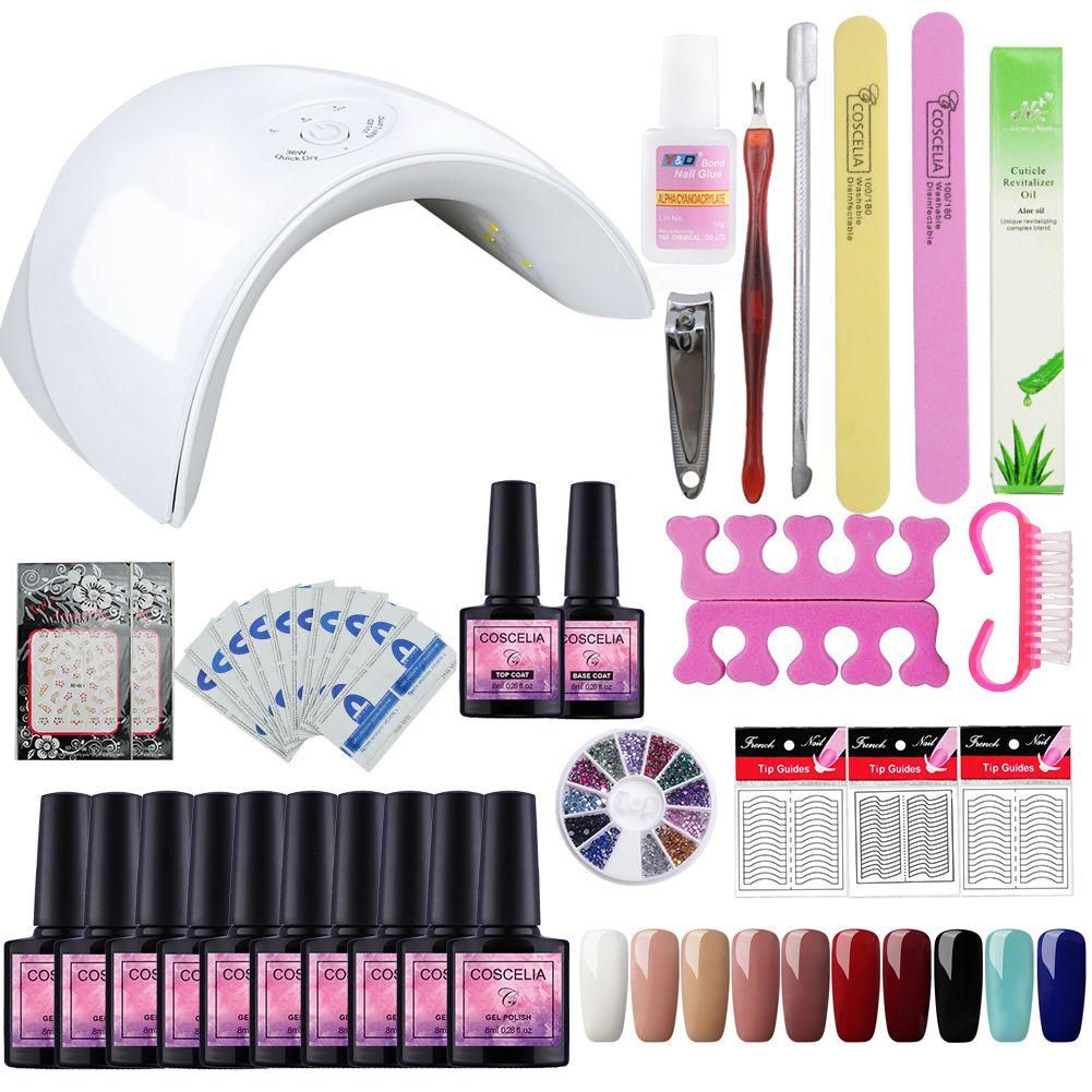 Pro Gel Polish Nail Art Set For Manicure 36w Soak Off Gel Nail Kit