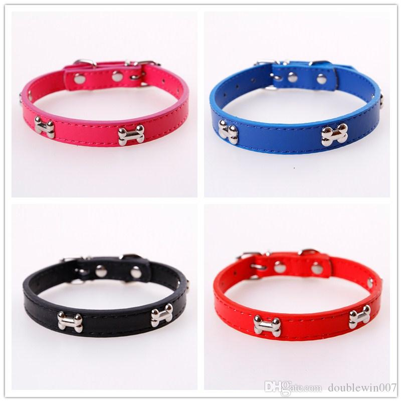 Große Qualität kostenloser Versand Hundehalsband Hundehalsband mit Knochen billiges Halsband weiß blau, lila, pink, rot braun 5 Farben S M L Größe auf Lager