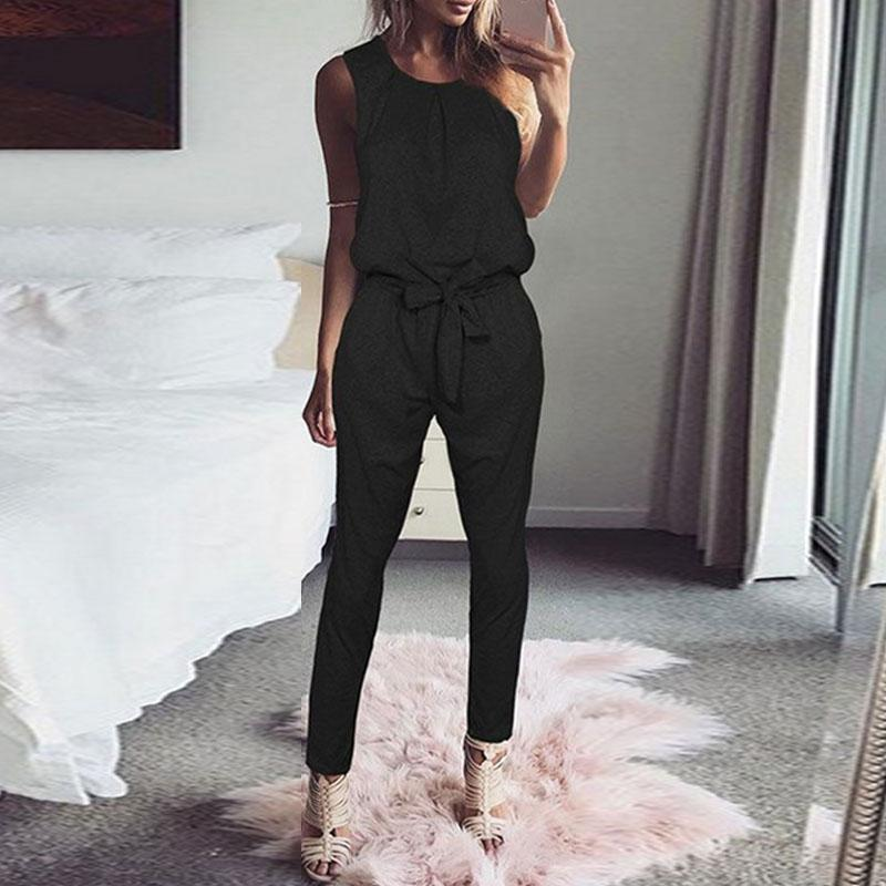 Jumpsuit 2018 Fashion Women Sleeveless Casual Harem Pants Rompers Playsuit Elegant Solid Belted Overalls Long Combinaison Femme