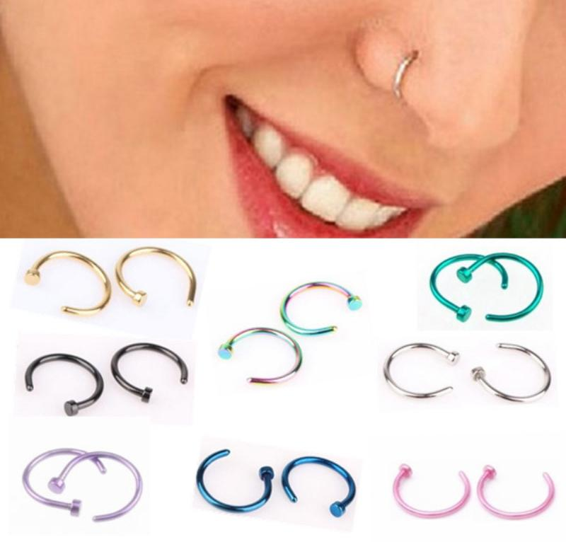 Unisex Fashion 316L Medical Titanium Steel Nose Ring Fluorescent color Nose Ring C-type nasal piercing Jewelry