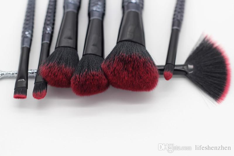 Новый макияж кисти набор 7 шт./компл. Русалка ручка дизайн Румяна порошок бровей Тени для век кисти с сумка/Сумка черный DHL доставка