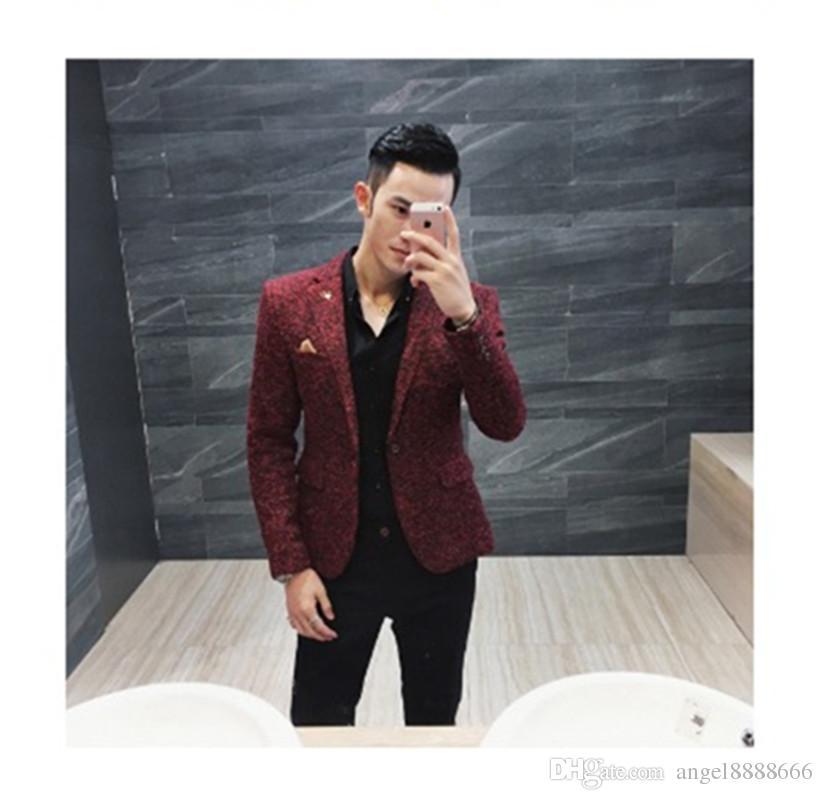 premium selection d3611 89abb Giacca slim moda maschile stile coreano grigio vino rosso marrone 3 colori  giacca sportiva da uomo giovane casual abbigliamento outfit uso per lavoro  ...