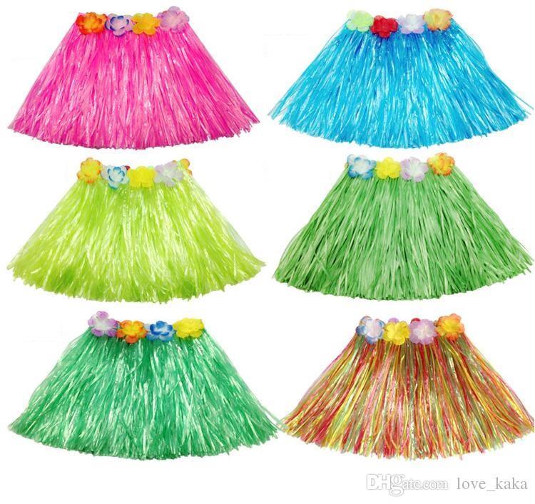 인기있는 술 어린이 소녀 공주 꽃 훌라 잔디 스커트 댄스 기프트 팬시 Costuhow me Show Skirt 훌라 잔디 스커트 garlands bracelet head