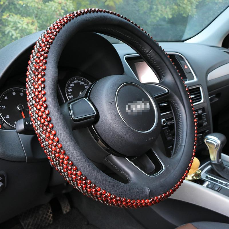38cm Universal Wooden Red Beads Car Steering Wheel Cover Anti-Slip Summer  Steering Covers for Toyota BMW VW