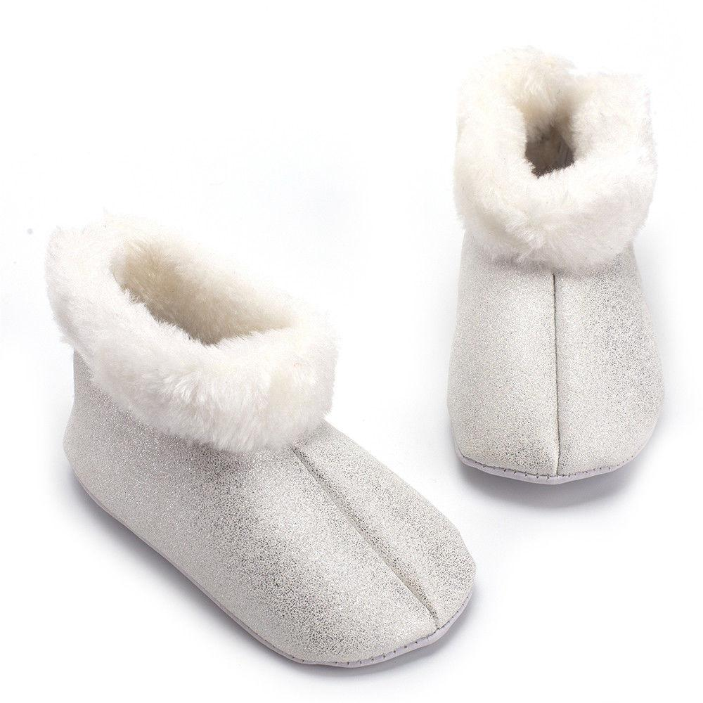 2018 Kids Baby Shoes Girl Fluffy Fur Glitter Solid Winter Warm Baby