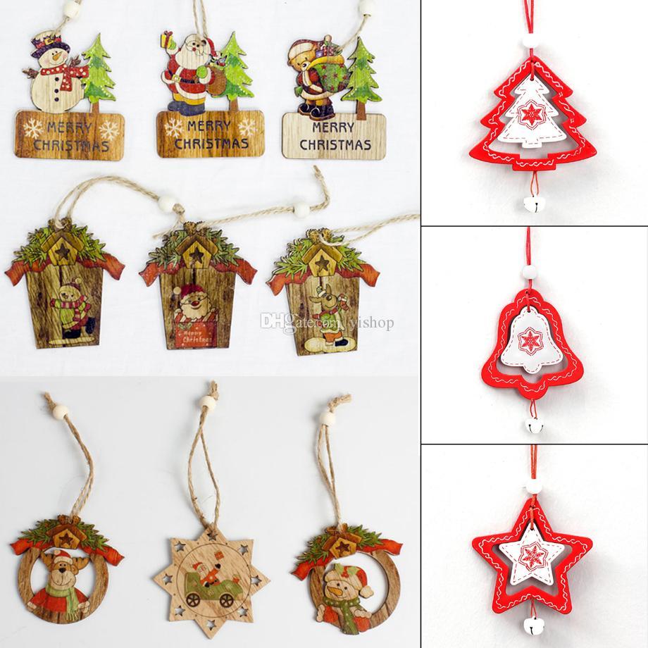 Lot Wooden Christmas Tree Ornaments Wood Chip Snowman Santa Claus Tree Deer Hanging Pendant Christmas Decoration Xmas Gift
