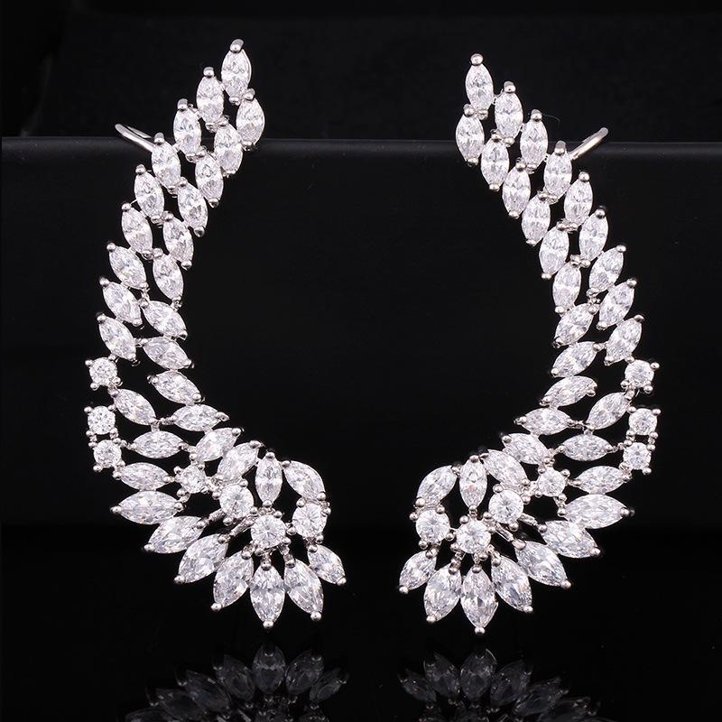 Sexemara 925 Poste de Prata Da Senhora de Luxo Zircão Cúbico Cristal Asa Asa Ouvido Envoltório Brincos Cuff Brincos Algema Algema