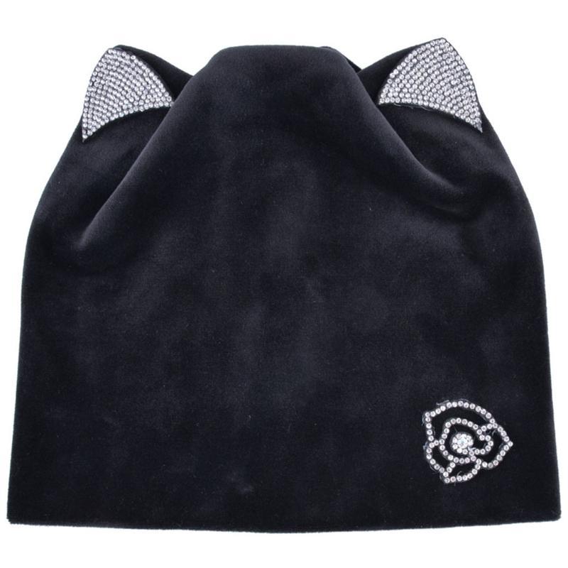 6f95f411655 Ladies Warm Velvet Skullies Cap With Flashing Rhinestone Autumn Winter  Women S Beanies Cat Hat Ear Flaps Girls Cute Bonnet Touca Crochet Baby Hats  Ladies ...