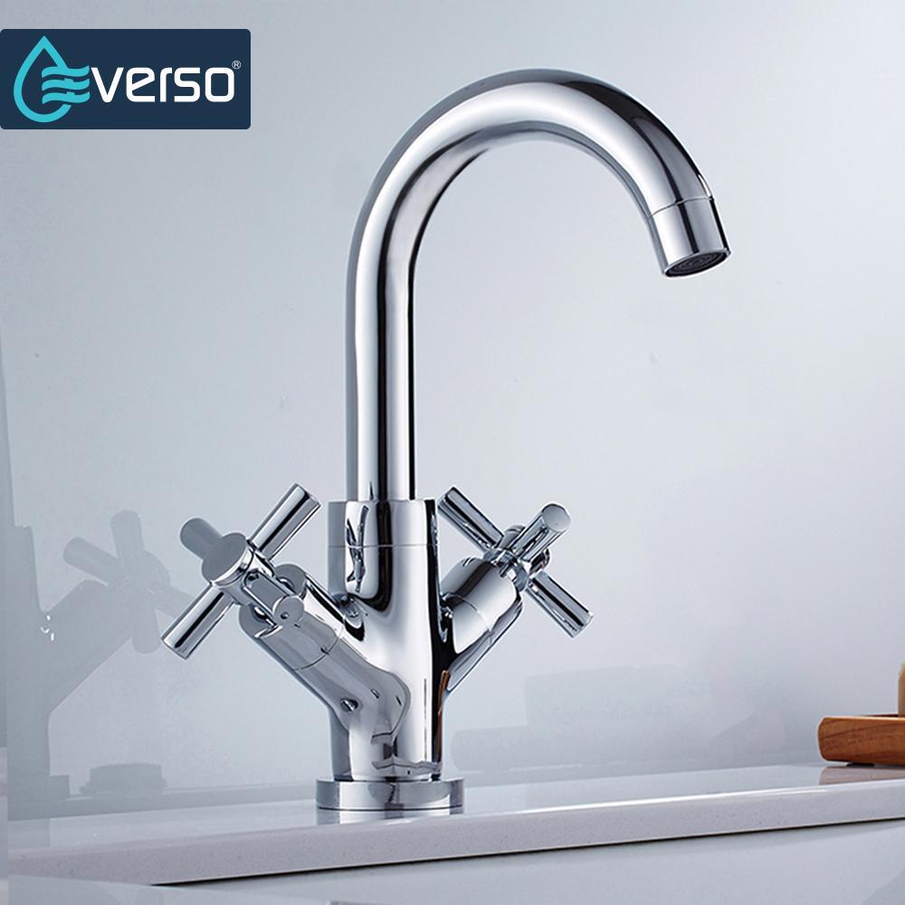 2018 New Design Unique Brass Kitchen Faucet Chrome Dual Handle ...