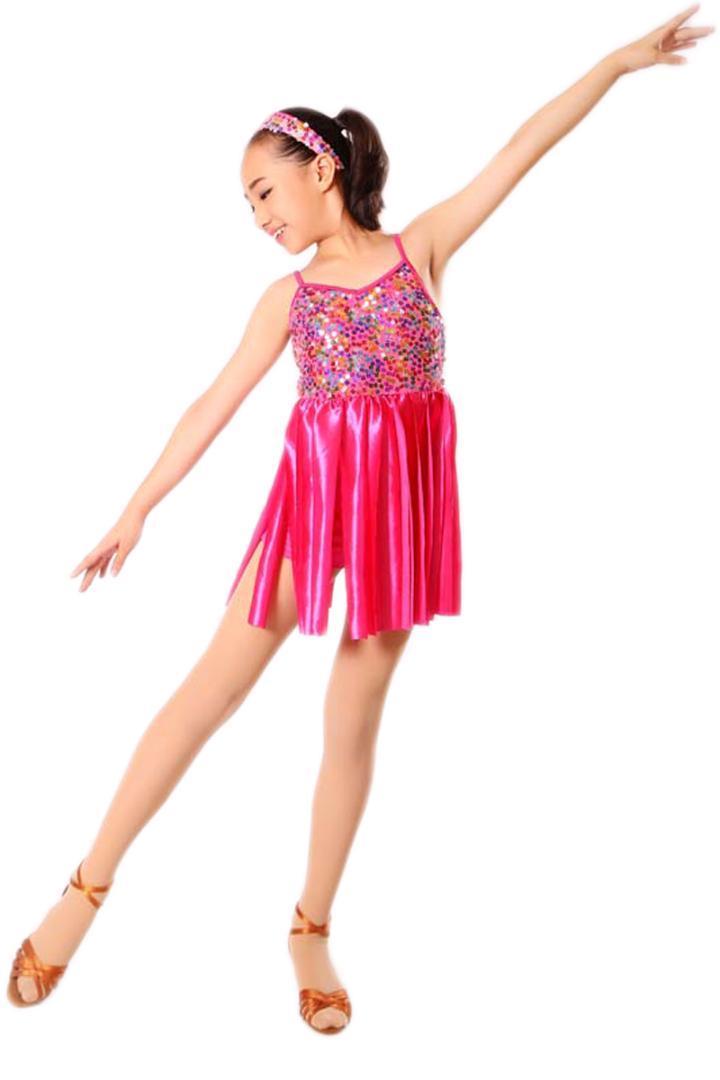 cafda7c925 Compre Vestidos De Salsa Crianças Lantejoula Dança Latina Dress For Girls  Fringe Dança Dancewear Stage Samba Júnior Salão De Baile Trajes Standart De  ...