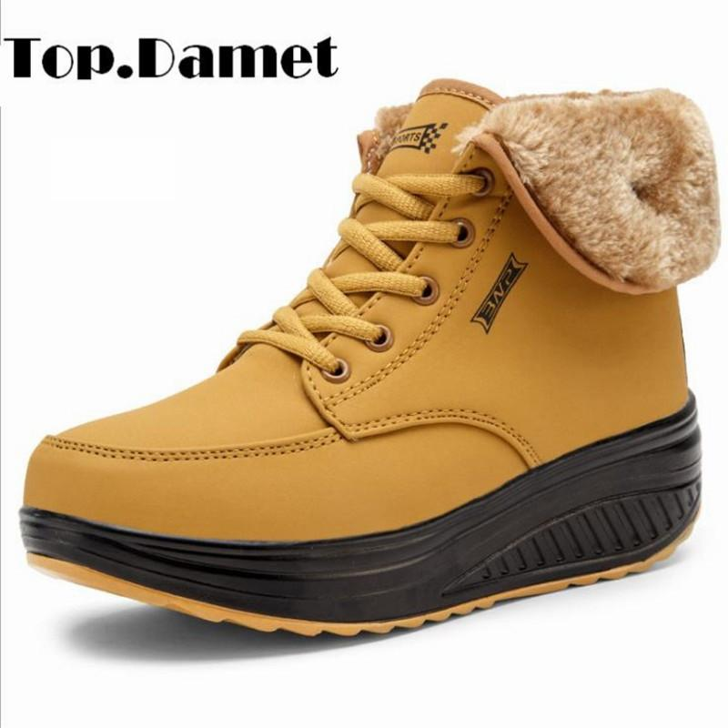 37eab3388e5 Top.Damet Snow Boots Women Winter Leather Casual Shoes Lace Up Wedges  Platform Non Slip High Top Sneaker Warm Walking Shoe Woman
