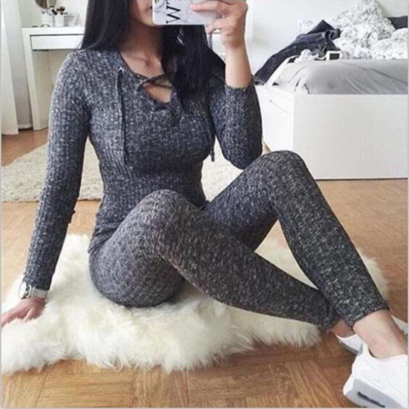 Mujeres atractivas mono 2018 vendaje cruzado con cuello en V de punto otoño invierno gris suéter delgado bodycon mono mameluco caliente suéteres Top
