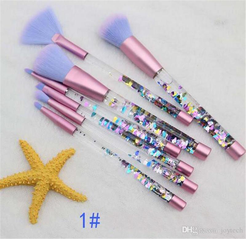 7 قطعة بريق الكريستال فرشاة ماكياج مجموعة الماس برو تمييز فرش خافي المكياج فرشاة هدية dhl شحن مجاني