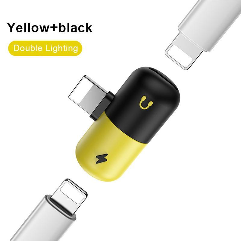 Mini Cell Phone Adapters Capsule Adapter 2 In 1 Dual Audio Headphone Charge  Adapter For Iphone X 8 7 With Retail Package