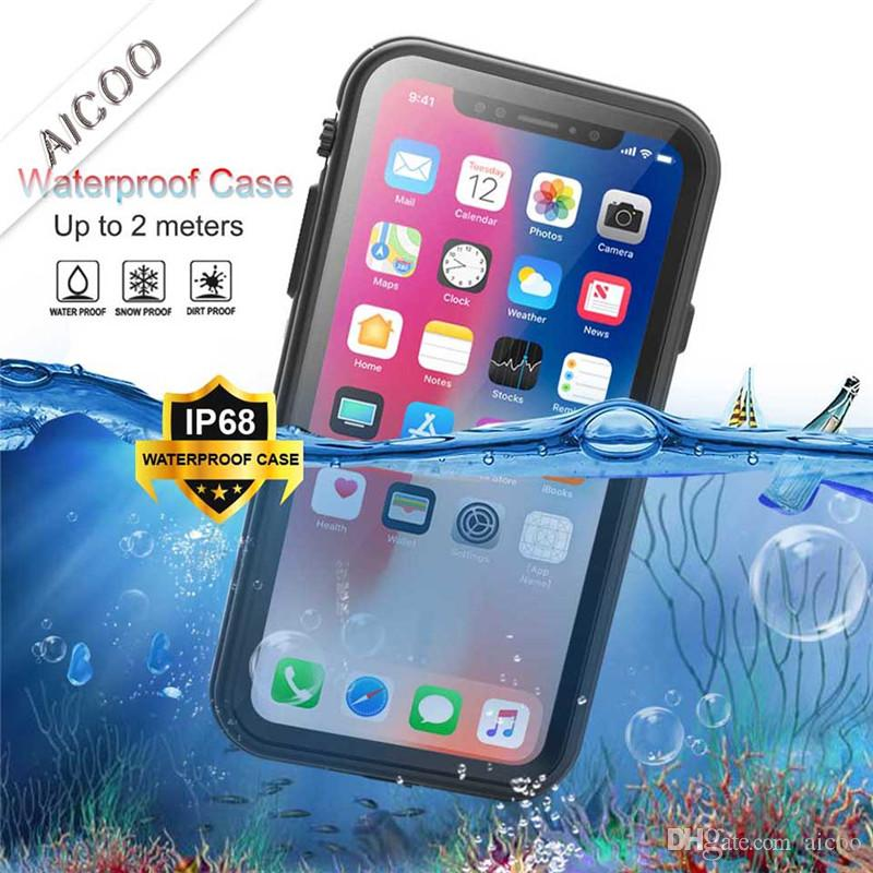 online store 744a3 25595 Waterproof IP68 Phone Case Kickstand Life Water Proof Shockproof Dirt Proof  Case Cover For New Iphone XS MAX XR Retail Packaging