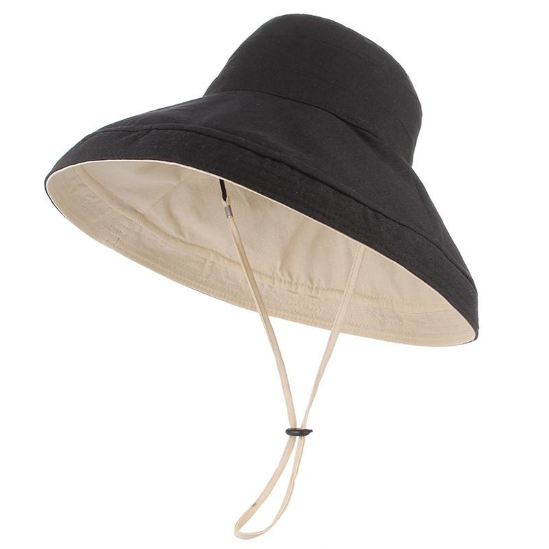 6ee1e32d3 Two Side Reversible Solid Cotton Bucket Hat Women Wide Brim Sun Protection  Cap Summer Autumn Fisherman Panama Hat Panama Hat Trilby From Rainbowwo, ...