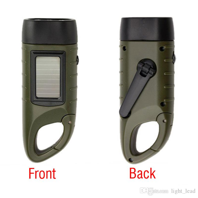 Mini Emergency Flashlight Hand Crank Dynamo Solar Rechargeable LED Light Lamp Charging Powerful Torch For Outdoor Camping