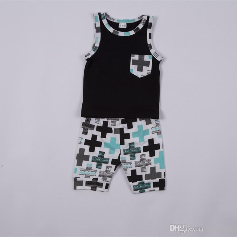 baby toddler boys summer casual clothes pocket tops vest+pants outfits clothes set fit for baby 0-3T