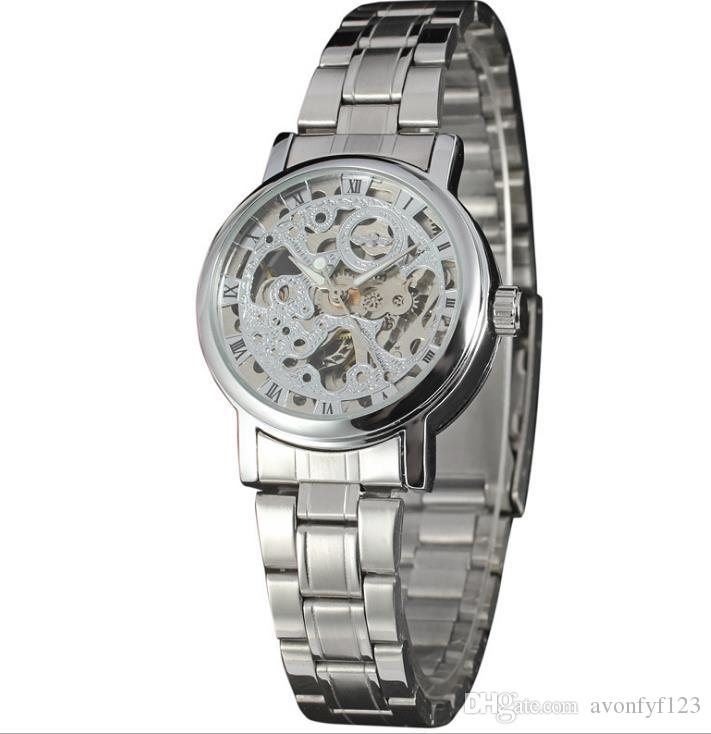 Mens Gold Skeleton Steel Reloj mecánico automático Acero moda hombres / mujeres reloj ganador marca elegante diseño muñeca vestido esqueleto relojes A521