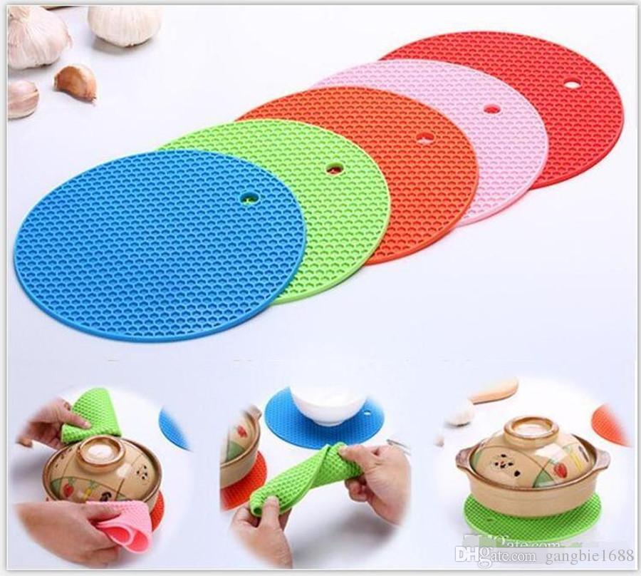 Round Silicone Non-Slip Heat Resistant Pot Table Mats designs Holder Coaster Cushion Placemat Pot Table Mat napkins Silicone Placemat.DHL
