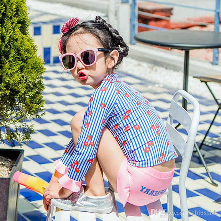 İki Adet Mayo Çocuk Giyim Bebek Bebek Kız Mayolar Moda Çocuk Banyo Seti Kızlar Mayo Baskı Beachwear