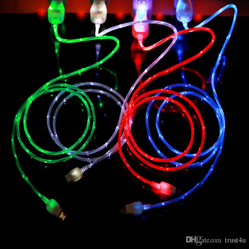 Flowing USB Cable Upgrade Extra Bright Brilliant LED Micro Light Up Charging Charger Data Cable w/ Direction Flow Stream w/Opp Bag