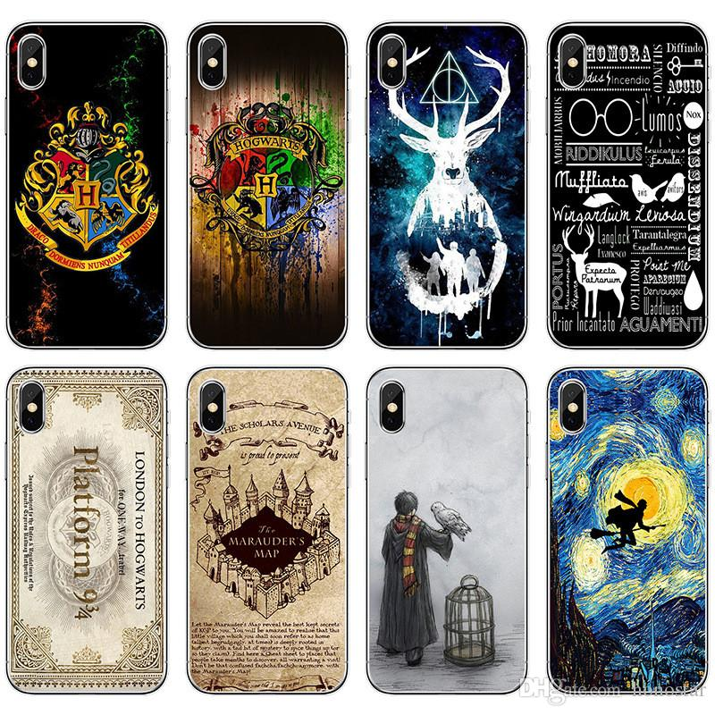reputable site 6d5d2 d002a Harry Potter Phone Cases Hogwarts Soft TPU Protector for iPhone X XR XS Max  7/8 6s 5s Samsung Note9 Note8 S9 S8plus S7 16 designs