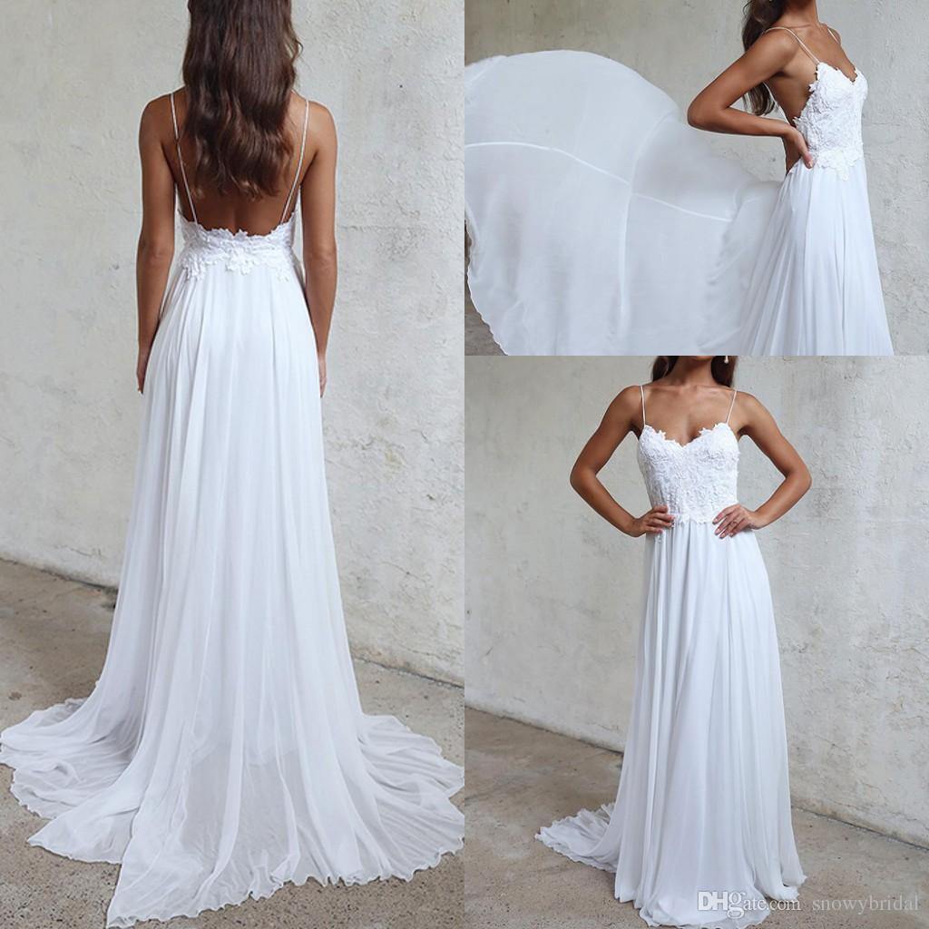 Discount Lace Chiffon Boho Beach Wedding Dresses 2018 With Spaghetti ...