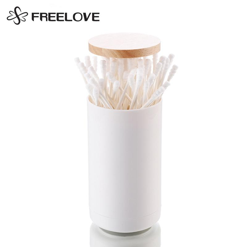 FREELOVE Simple Plastic Automatic Pressing Toothpick Holder with Oka Cover / White Plastic Toothpick Box Dispenser Bucket 1 PC