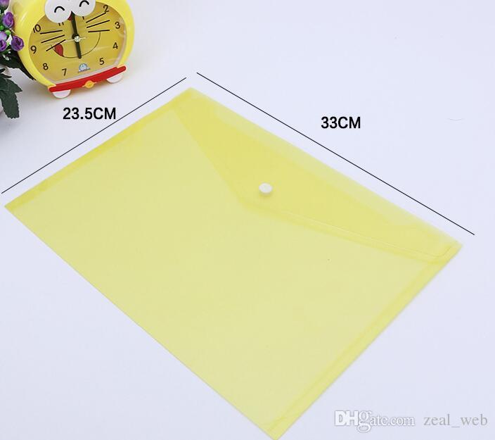 de los documentos A4 de archivo Bolsas con botón a presión sobres transparentes de presentación de carpetas de papel plástico 18C archivo