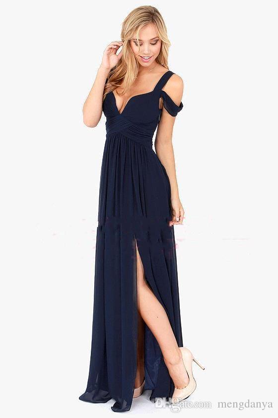 2019 Estate Bariano Off Shoulder Elegance Abiti da damigella blu scuro che fluttuano in chiffon Backless con maxi lunghi abiti da sera BA3523