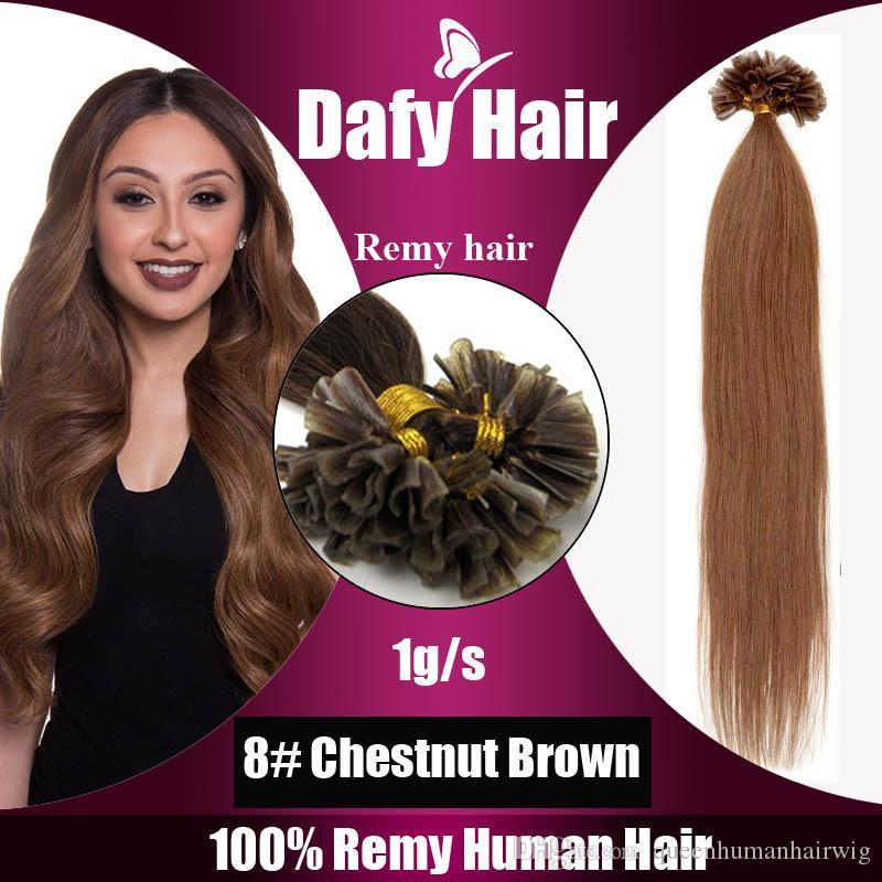 U Tip Remy Human Hair 12 28 100s 1gs 8 Chestnut Brown Nail Hair