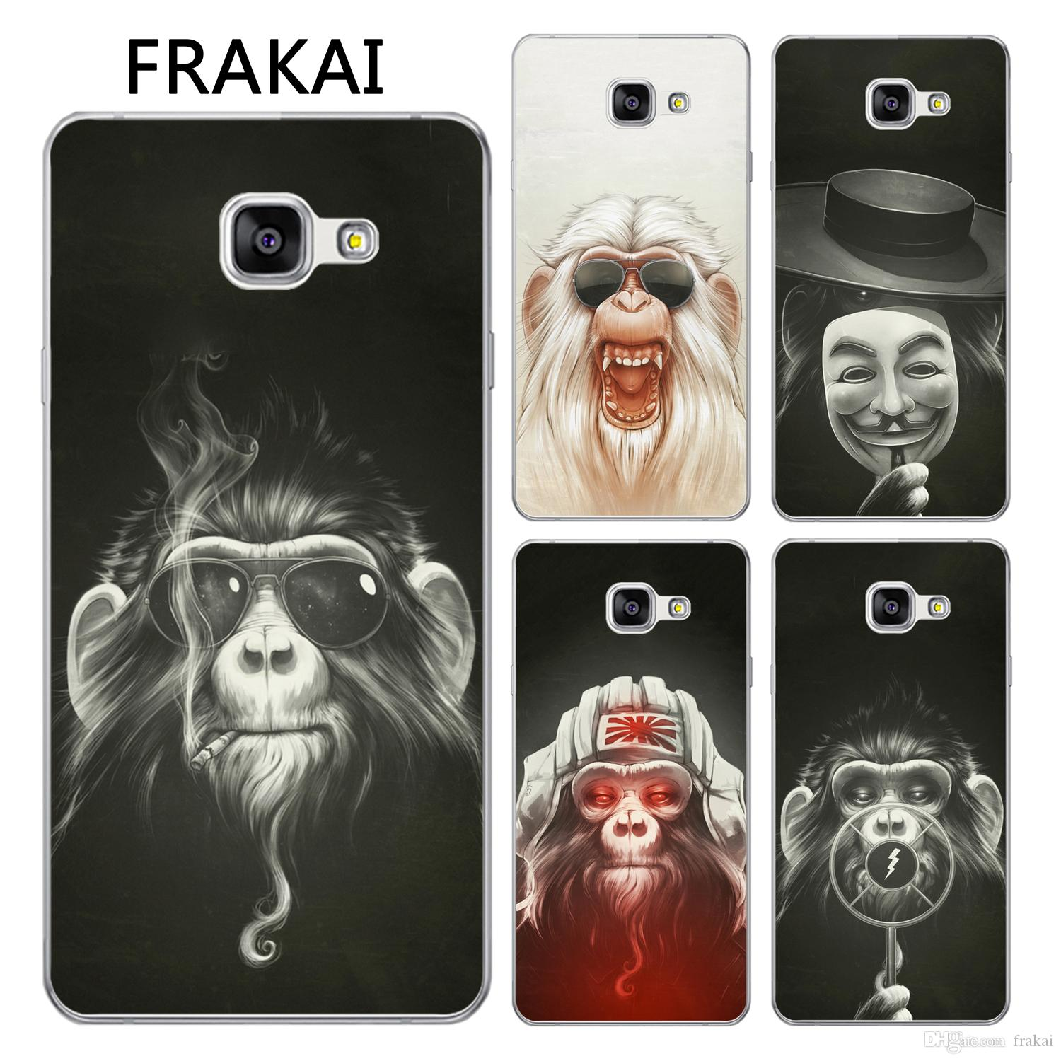 For Samsung Galaxy A3 A5 A7 2017 A320 A520 A720 Cool Glasses Smoking Mask Monkey Painted Soft TPU Clear Cell Phone Cases Glasses Monkey Mask Monkey Smoking