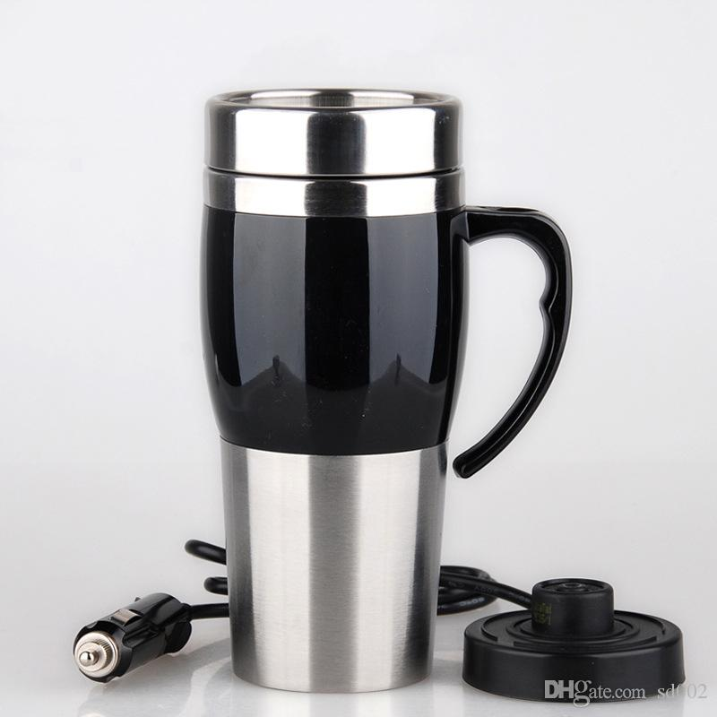 Creative Vacuum Heating Cup Vehicle Electric Kettle Thermal Heater Cups Stainless Steel Double Deck Water Bottles With Multi Color 46yz jj