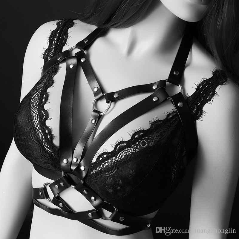 Womens Sexy Body Harness Belt Black Leather Strappy Bondage Lingerie Open Cage Bra Goth Exotic Apparel Bustier Rave Wear
