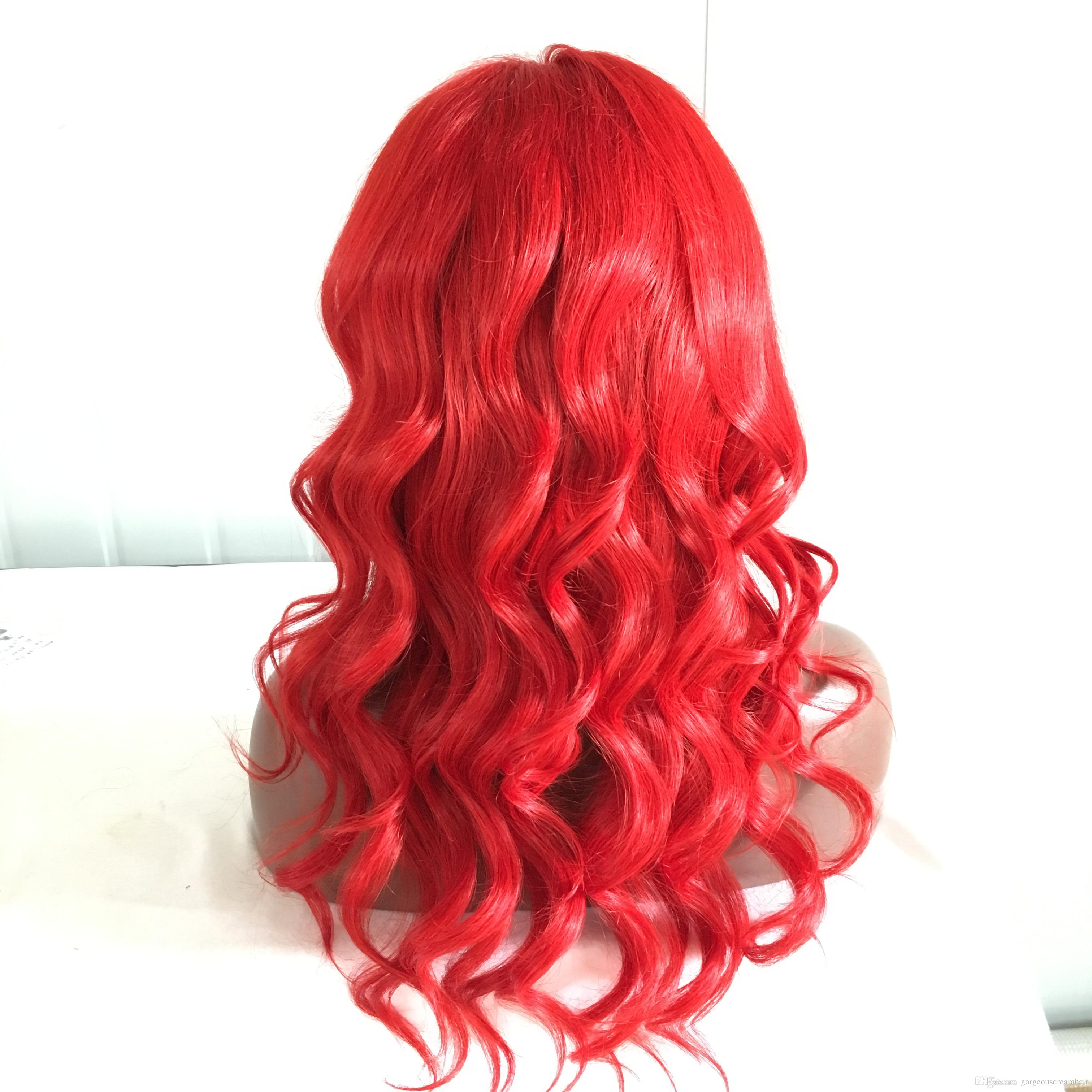 Red Human Hair Wigs For Black Women Body Wave Natural Hairline Lace Front Wigs With Baby Hair Peruvian Virgin Full Lace Wig