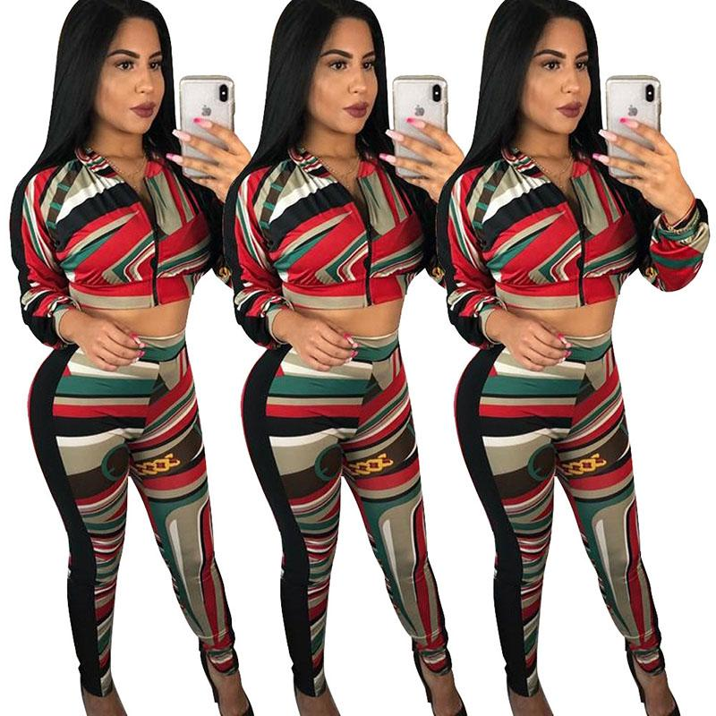 de004eee91 Acquista Pantaloni Casual Donna Abiti Sexy In Due Pezzi Giacca Top Pantaloni  A Matita Pantaloni Stampa Cuciture A Maniche Lunghe Tuta Abbigliamento Donna  ...