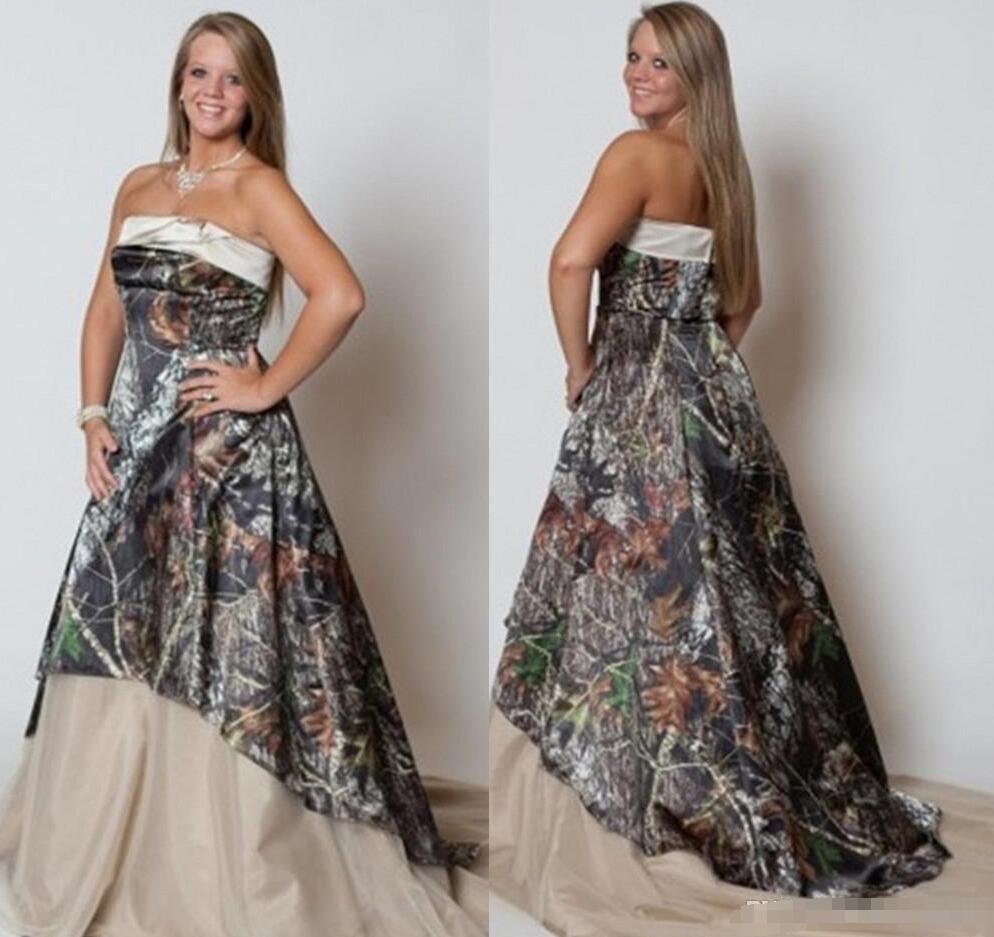 Discount Vintage Camo Plus Size Camo Wedding Dresses 2018 Strapless