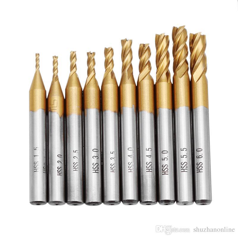 Titanium Coating 1.5-6.0mm HSS 4 Flute End Mill Cutter 6mm Shank CNC Drill Bits