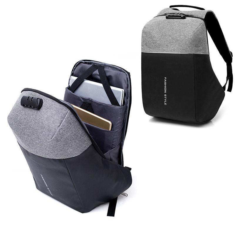16658f588328 New Anti Thief Men Laptop Backpack Male Business Canvas Rucksack Hard Shell  No Key TSA Lock Design Backpack School Travel Bag Swiss Army Backpack Black  ...