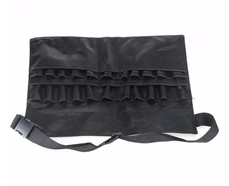 블랙 두 배열 메이크업 브러쉬 홀더 전문 PVC 앞치마 가방 아티스트 벨트 스트랩 Protable 메이크업 가방 화장품 브러쉬 가방